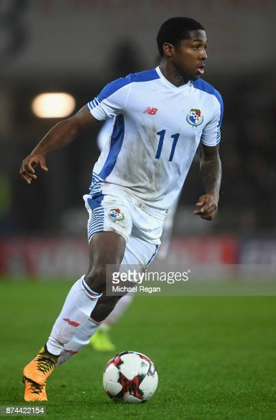 Armando Cooper of Panama in action during the International match between Wales and Panama at Cardiff City Stadium on November 14 2017 in Cardiff...