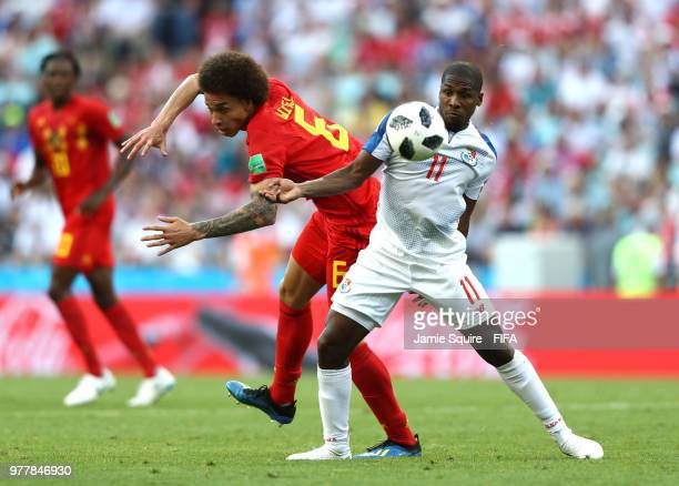 Armando Cooper of Panama is tackled by Axel Witsel of Belgium during the 2018 FIFA World Cup Russia group G match between Belgium and Panama at Fisht...