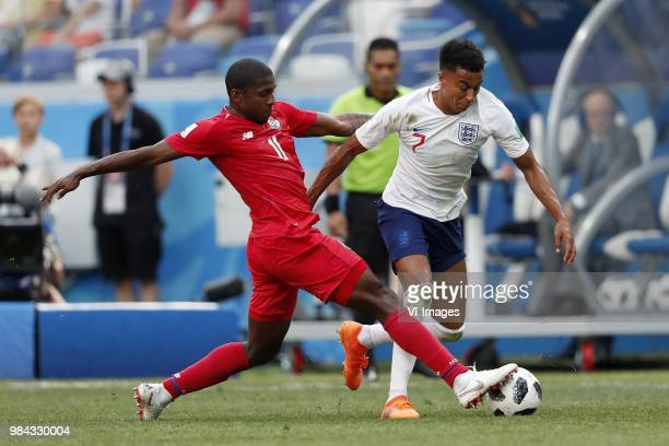 Armando Cooper of Panama Jesse Lingard of England during the 2018 FIFA World Cup Russia group G match between England and Panama at the Nizhny...