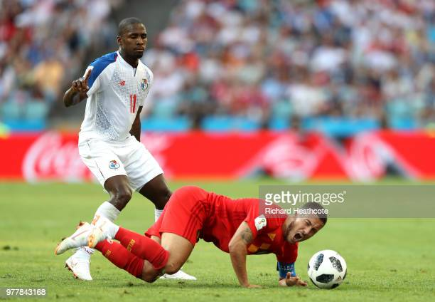 Armando Cooper of Panama looks on as Eden Hazard of Belgium goes down during the 2018 FIFA World Cup Russia group G match between Belgium and Panama...