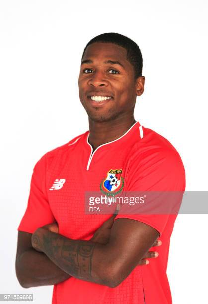 Armando Cooper of Panama poses for a portrait during the official FIFA World Cup 2018 portrait session at the Saransk Olympic Training Center on June...