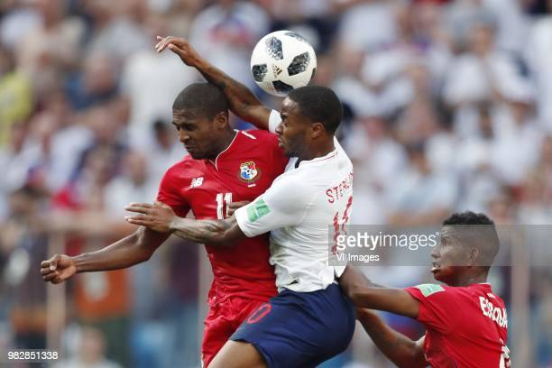 Armando Cooper of Panama Raheem Sterling of England Fidel Escobar of Panama during the 2018 FIFA World Cup Russia group G match between England and...