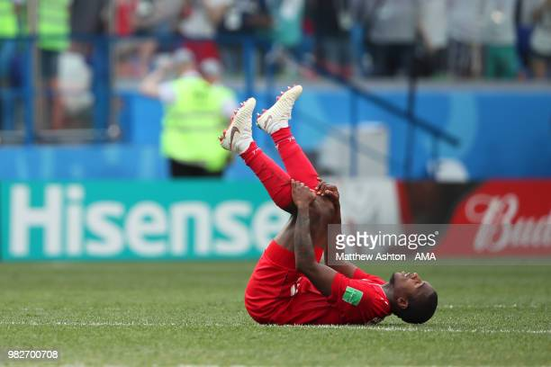 Armando Cooper of Panama reacts at the end of the 2018 FIFA World Cup Russia group G match between England and Panama at Nizhny Novgorod Stadium on...