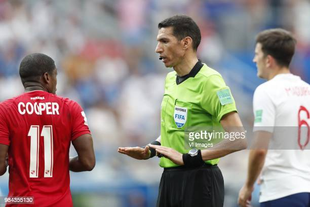 Armando Cooper of Panama referee Ghead Grisha Harry Maguire of England during the 2018 FIFA World Cup Russia group G match between England and Panama...