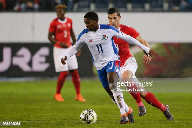 Armando Cooper of Panama Remco Freuler of Switzerland during the International Friendly match between Switzerland v Panama at the Luzern Arena on...