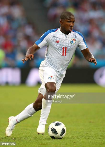 Armando Cooper of Panama runs with the ball during the 2018 FIFA World Cup Russia group G match between Belgium and Panama at Fisht Stadium on June...