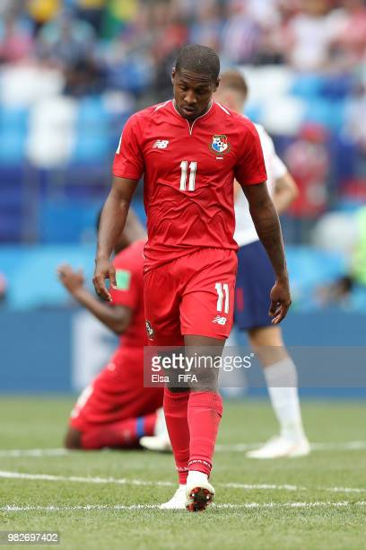 Armando Cooper of Panama walks off the pitch dejected folowing the 2018 FIFA World Cup Russia group G match between England and Panama at Nizhny...
