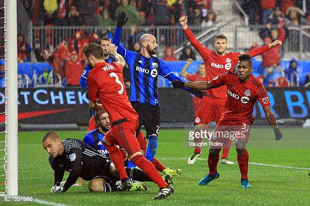 Armando Cooper of Toronto FC scores a goal during the first half of the MLS Eastern Conference Final Leg 2 game against Montreal Impact at BMO Field...