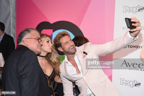 Armando Correa Geraldine Bazan and Gabriel Soto pose for a selfie at People en Espanol's 50 Most Beautiful Gala 2017 at Espace on May 16 2017 in New...