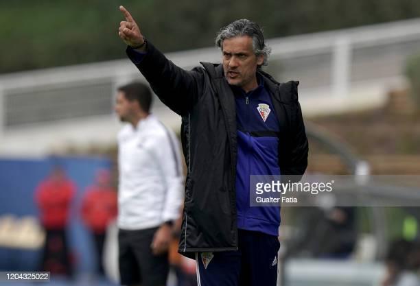 Armando Evangelista of UD Vilafranquense gestures during the Liga Pro match between GD Estoril Praia and UD Vilafranquense at Estadio Antonio Coimbra...