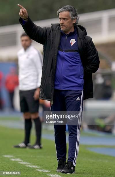 Armando Evangelista of UD Vilafranquense in action during the Liga Pro match between GD Estoril Praia and UD Vilafranquense at Estadio Antonio...