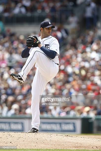 Armando Galarraga of the Detroit Tigers delivers the pitch during the game between the Boston Red Sox and the Detroit Tigers on Sunday May 16 at...