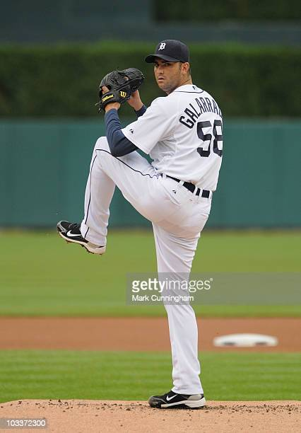 Armando Galarraga of the Detroit Tigers pitches against the Tampa Bay Rays at Comerica Park on August 9 2010 in Detroit Michigan The Rays defeated...