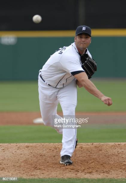 Armando Galarraga of the Detroit Tigers pitches during the spring training game against the Atlanta Braves at Joker Marchant Stadium in Lakeland...