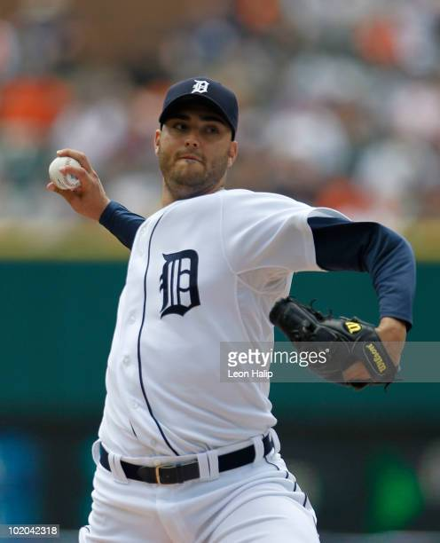 Armando Galarraga of the Detroit Tigers pitches in the second inning against the Pittsburgh Pirates during the game on June 13 2010 at Comerica Park...