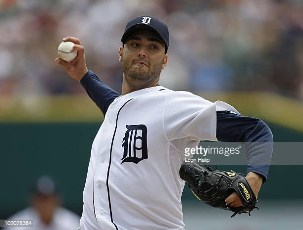 Armando Galarraga of the Detroit Tigers pitches in the third inning against the Pittsburgh Pirates during the game on June 13 2010 at Comerica Park...