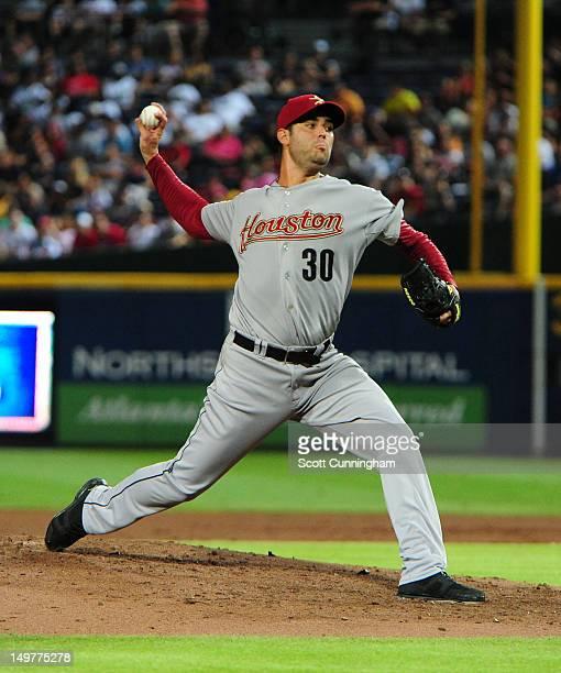 Armando Galarraga of the Houston Astros pitches against the Atlanta Braves at Turner Field on August 3 2012 in Atlanta Georgia