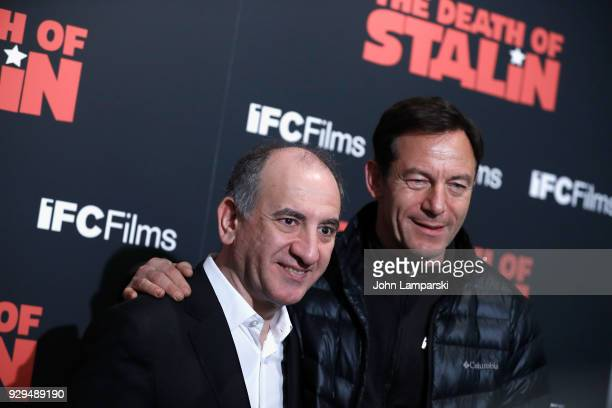 Armando Iannucci and jason Isaacs attend 'The Death Of Stalin' New York premiere at AMC Lincoln Square Theater on March 8 2018 in New York City