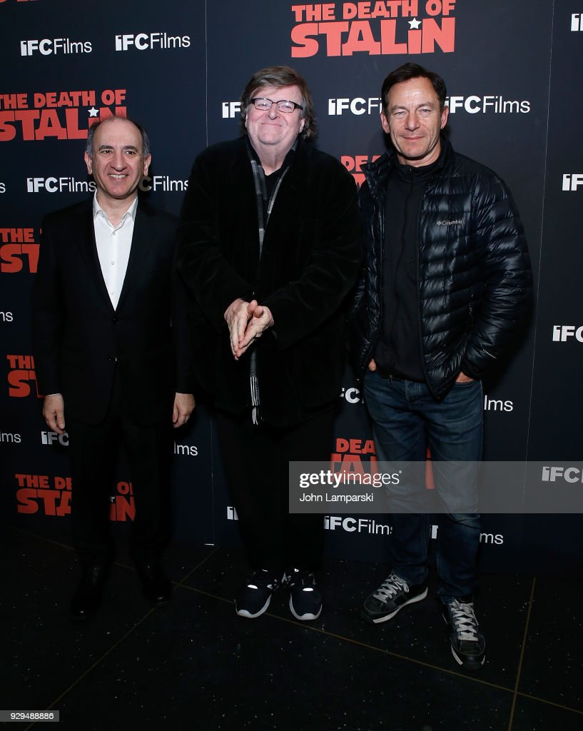 Armando Iannucci, Michael Moore and Jason Isaacs attend 'The Death Of Stalin' New York premiere at AMC Lincoln Square Theater on March 8, 2018 in New York City.