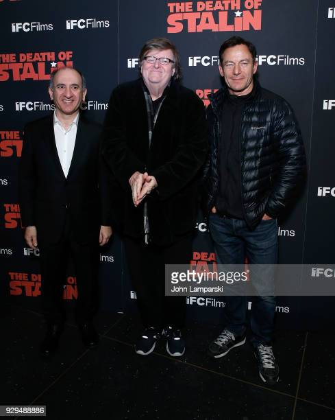 Armando Iannucci Michael Moore and Jason Isaacs attend 'The Death Of Stalin' New York premiere at AMC Lincoln Square Theater on March 8 2018 in New...