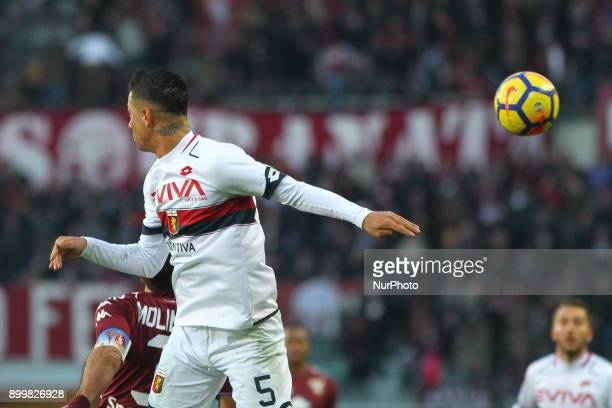 Armando Izzo in action during the Serie A football match between Torino FC and Genoa CFC at Olympic Grande Torino Stadium on 30 December 2017 in...