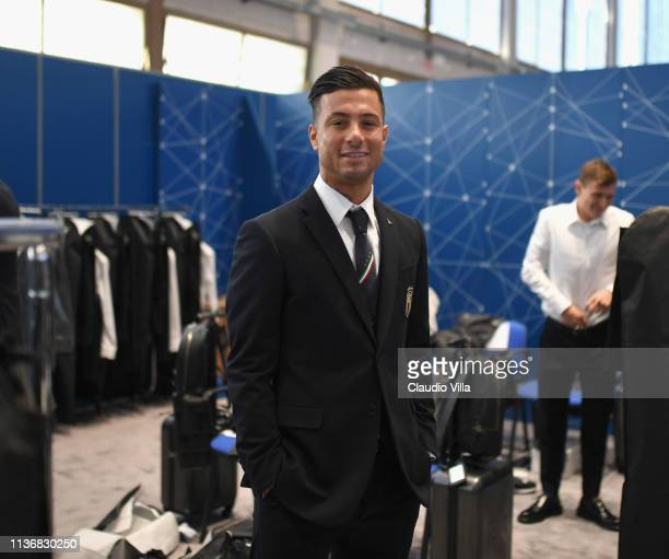 Armando Izzo looks on ahead of the Italy team photo with the new Armani suit at Centro Tecnico Federale di Coverciano on March 19 2019 in Florence...