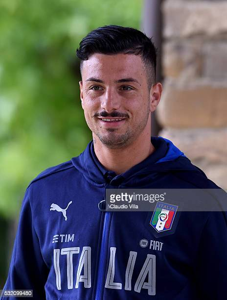 Armando Izzo looks on prior to the Italy training session at the club's training ground at Coverciano on May 18 2016 in Florence Italy