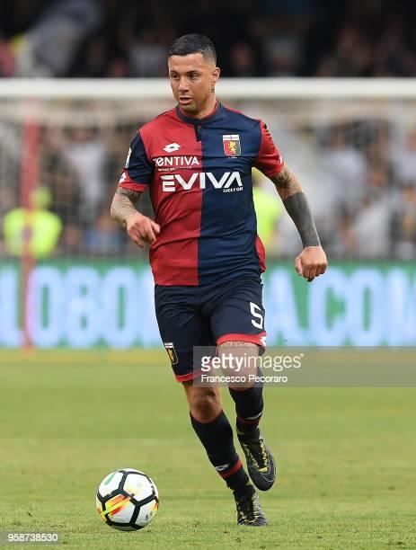 Armando Izzo of Genoa CFC in action during the serie A match between Benevento Calcio and Genoa CFC at Stadio Ciro Vigorito on May 12 2018 in...