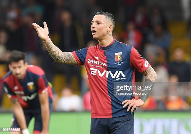 Armando Izzo of Genoa CFC in action during the serie A match between Benevento Calcio and Genoa CFC at Stadio Ciro Vigorito on May 12 2018 in...