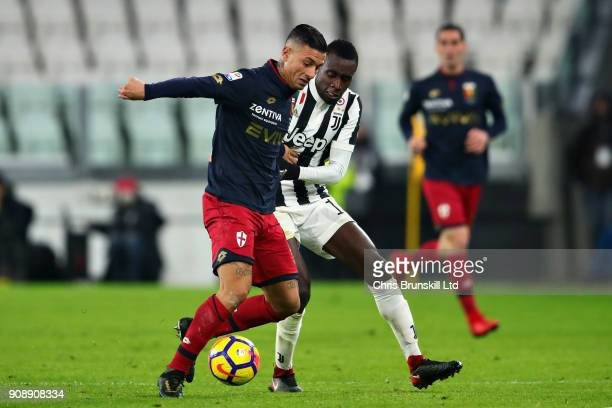 Armando Izzo of Genoa CFC is challenged by Blaise Matuidi of Juventus during the Serie A match between Juventus and Genoa CFC at Allianz Stadium on...