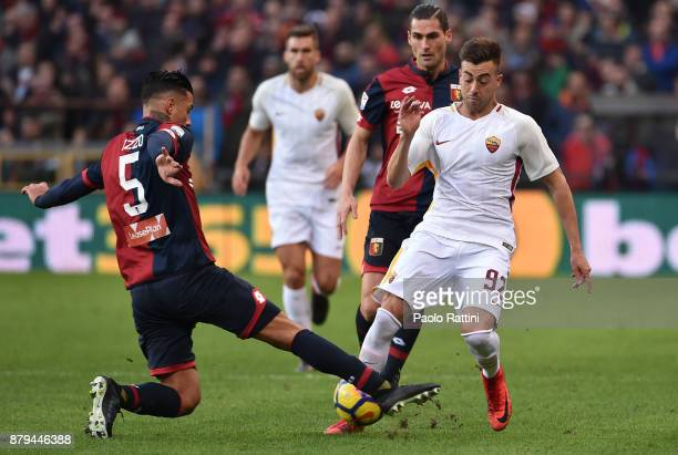 Armando Izzo of Genoa in action with Stephan El Shaarawy of Roma during the Serie A match between Genoa CFC and AS Roma at Stadio Luigi Ferraris on...