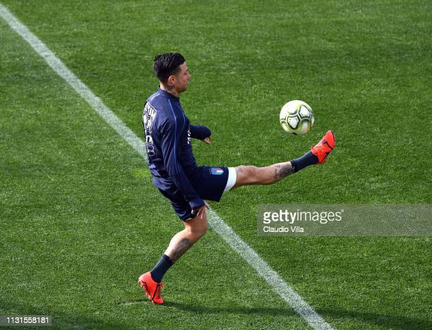 Armando Izzo of Italy in action during a training session at Centro Tecnico Federale di Coverciano on March 19 2019 in Florence Italy