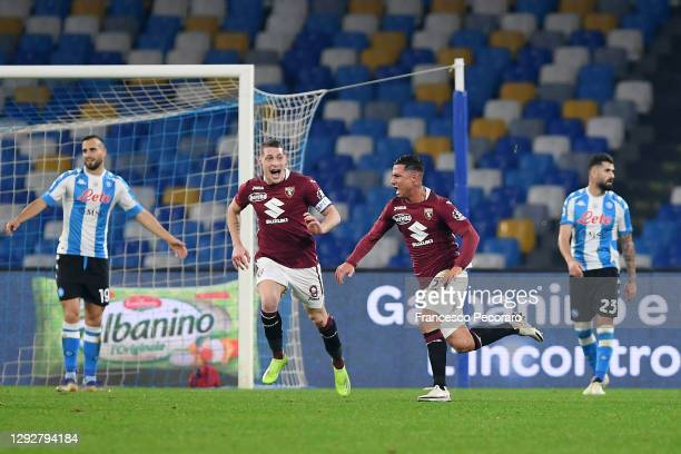 Armando Izzo of Torino celebrates after scoring their sides first goal during the Serie A match between SSC Napoli and Torino FC at Stadio Diego...