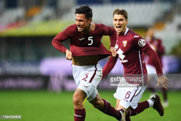 Armando Izzo of Torino celebrates after scoring their sides second goal during the Serie A match between Parma Calcio and Torino FC at Stadio Ennio...