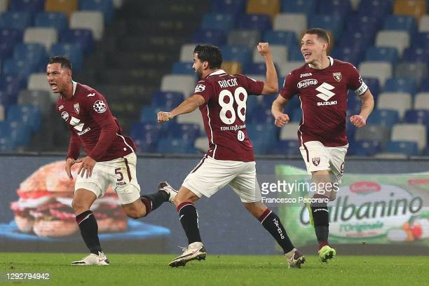 Armando Izzo of Torino celebrates with team mates Tomas Rincon and Andrea Belotti after scoring their sides first goal during the Serie A match...