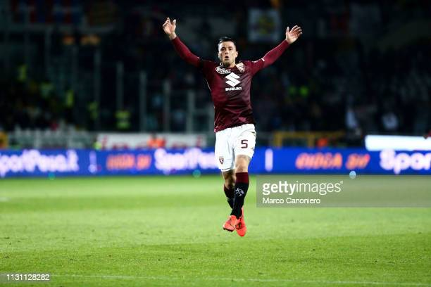 Armando Izzo of Torino FC celebrate after scoring a goal during the Serie A football match between Torino Fc and Bologna Fc Bologna Fc wins 32 over...
