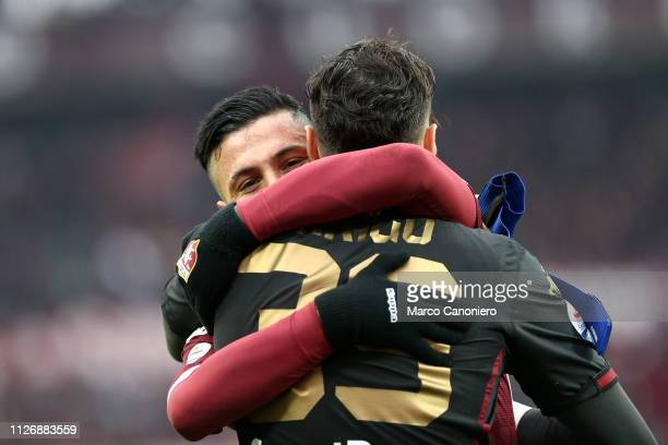 Armando Izzo of Torino FC celebrate with his teammate Salvatore Sirigu at the end of the Serie A football match between Torino Fc and Atalanta...