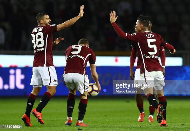 Armando Izzo of Torino FC celebrates his goal with his teammate Tomas Rincon during the Serie A match between Torino FC and Bologna FC at Stadio...