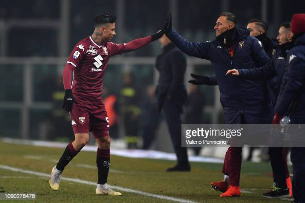 Armando Izzo of Torino FC celebrates the opening goal with team mate during the Serie A match between Torino FC and FC Internazionale at Stadio...
