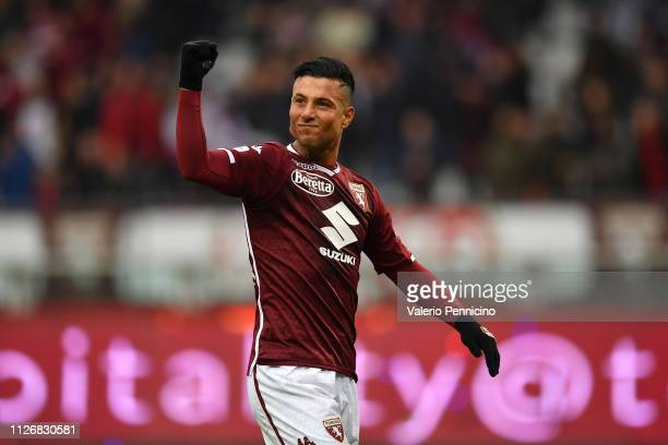 Armando Izzo of Torino FC celebrates victory at the end of the Serie A match between Torino FC and Atalanta BC at Stadio Olimpico di Torino on...