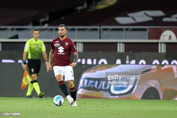 Armando Izzo of Torino FC controls the ball during the First Round of the Coppa Italia Match between FC Torino and US Cremonese at Stadio Olimpico...