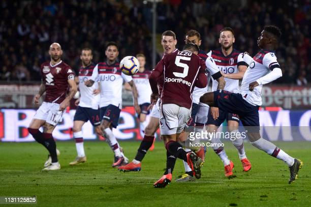 Armando Izzo of Torino FC scores a goal during the Serie A football match between Torino FC and Bologna FC Bologna FC won 32 over Torino FC