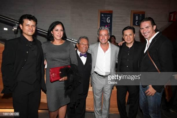 Armando Manzanero Arturo Velasco Carlos Lara and Pedro Damian pose during the red carpet of the SACM Hits Awards 2012 at the Roberto Cantoral...
