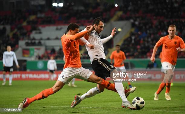 Armando Obispo of Holland challenges Levin Oeztunali of Germany during the International Friendly match between Germany U21 and Holland U21 at...