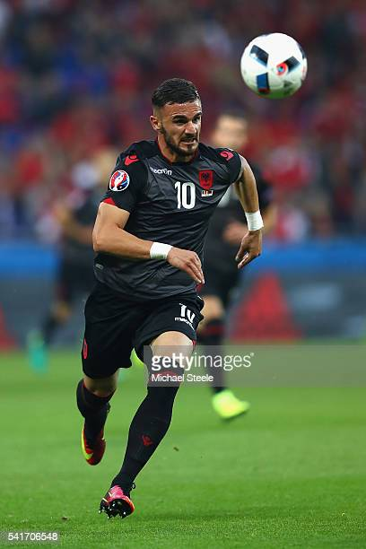 Armando Sadiku of Albania during the UEFA EURO 2016 Group A match between Romania and Albania at Stade des Lumieres on June 19 2016 in Lyon France