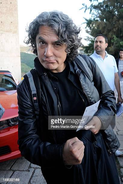 Armando VegaGil film critic poses for the photo at the Auditorio del Estado during the Guanajuato International Film Festival on July 20 in...