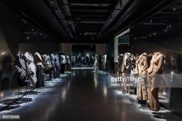 Armani dresses are seen at the exhibition at the Armani Silos on April 30 2015 in Milan Italy In 1975 Giorgio Armani launch his first collection And...