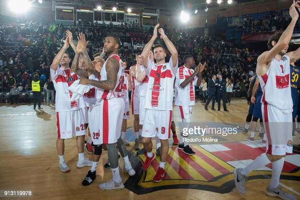 Armani Exchange Olimpia Milan players celebrates at teh end of the 2017/2018 Turkish Airlines EuroLeague Regular Season Round 21 game between FC...