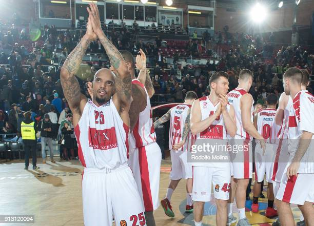 Armani Exchange Olimpia Milan players celebrates at the end of the 2017/2018 Turkish Airlines EuroLeague Regular Season Round 21 game between FC...