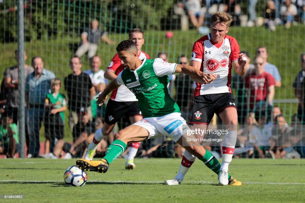 Armani Little from FC Southampton in action during the pre-season friendly match between FC Southampton and St. Gallen at Sportanlage Kellen on July 15, 2017 in Goldach, Switzerland.